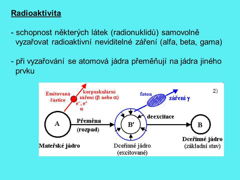 2) Radioaktivita - schopnost některých látek (radionuklidů) samovolně vyzařovat radioaktivní neviditelné záření (alfa, beta, gama) - při vyzařování se
