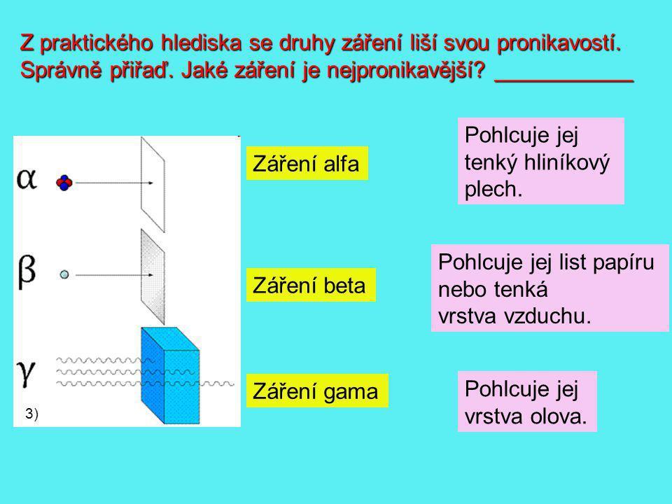 3) Z praktického hlediska se druhy záření liší svou pronikavostí. Správně přiřaď. Jaké záření je nejpronikavější? ___________ Záření alfa Záření beta