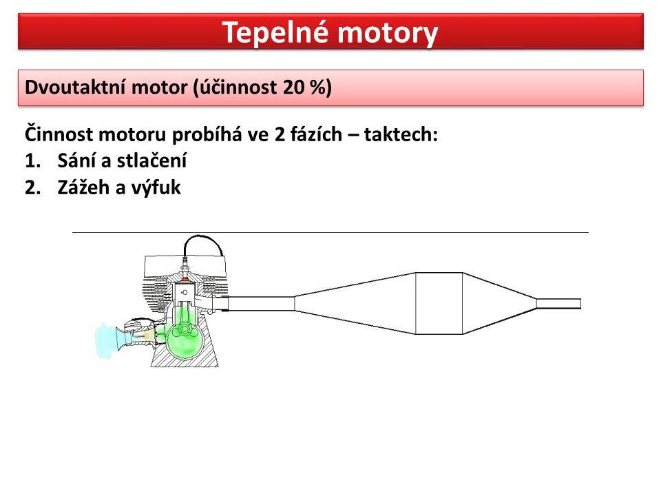 Tepelné motory Činnost motoru probíhá ve 2 fázích – taktech: 1.Sání a stlačení 2.Zážeh a výfuk Dvoutaktní motor (účinnost 20 %)