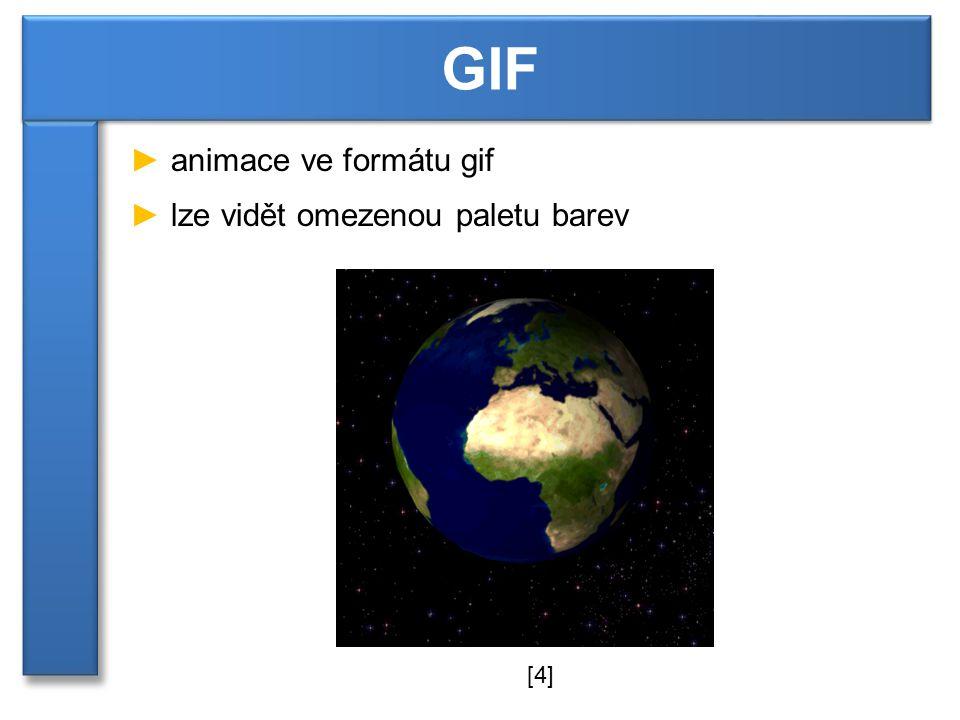 ► animace ve formátu gif ► lze vidět omezenou paletu barev GIF [4]
