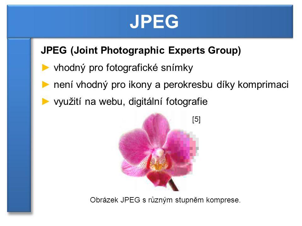 JPEG (Joint Photographic Experts Group) ► vhodný pro fotografické snímky ► není vhodný pro ikony a perokresbu díky komprimaci ► využití na webu, digitální fotografie JPEG Obrázek JPEG s různým stupněm komprese.