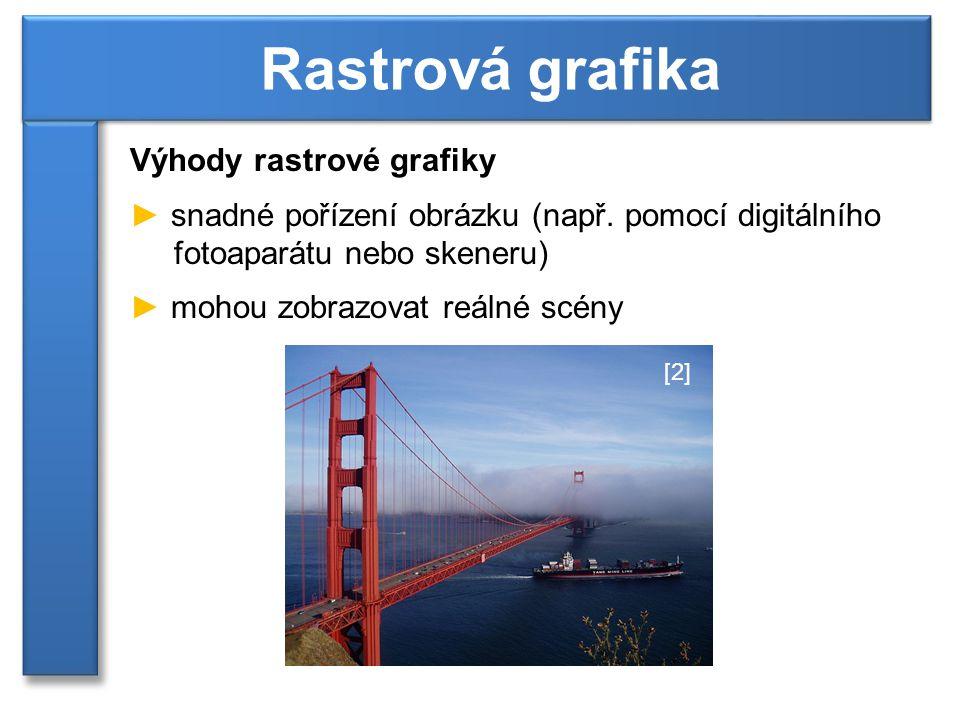 Výhody rastrové grafiky ► snadné pořízení obrázku (např.
