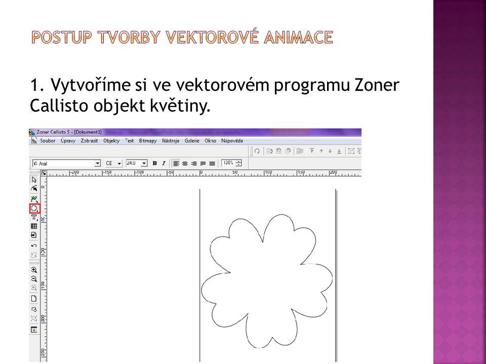 1. Vytvoříme si ve vektorovém programu Zoner Callisto objekt květiny.