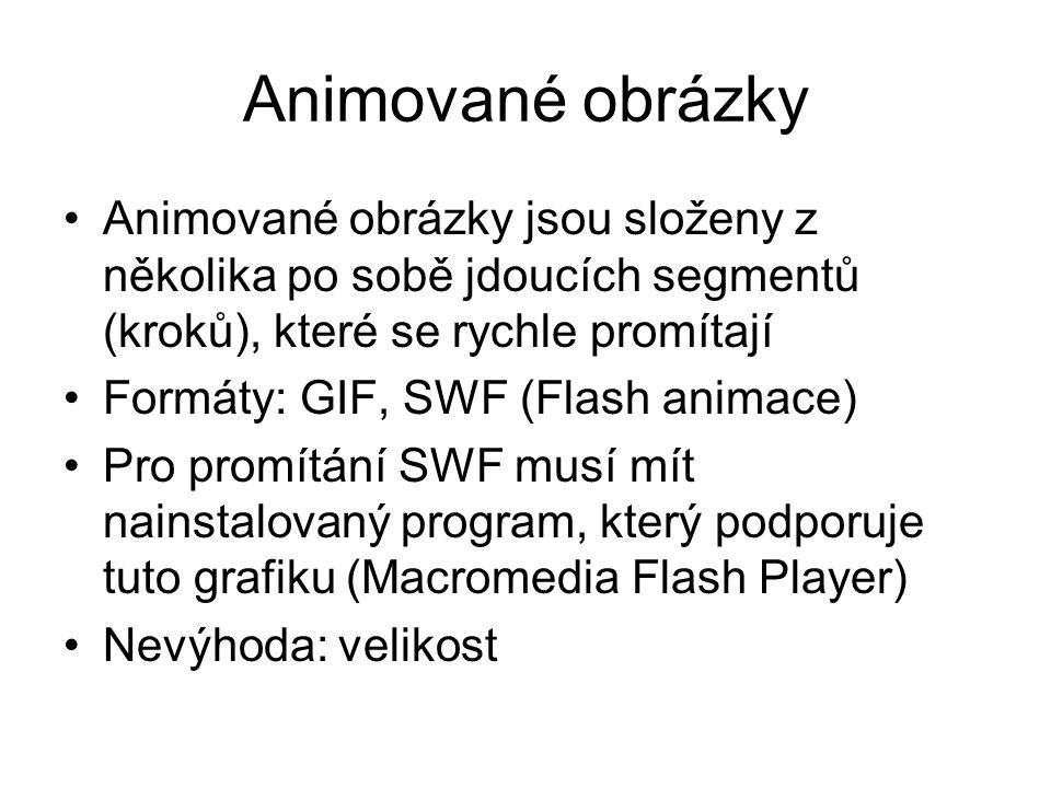 Animované obrázky Animované obrázky jsou složeny z několika po sobě jdoucích segmentů (kroků), které se rychle promítají Formáty: GIF, SWF (Flash animace) Pro promítání SWF musí mít nainstalovaný program, který podporuje tuto grafiku (Macromedia Flash Player) Nevýhoda: velikost
