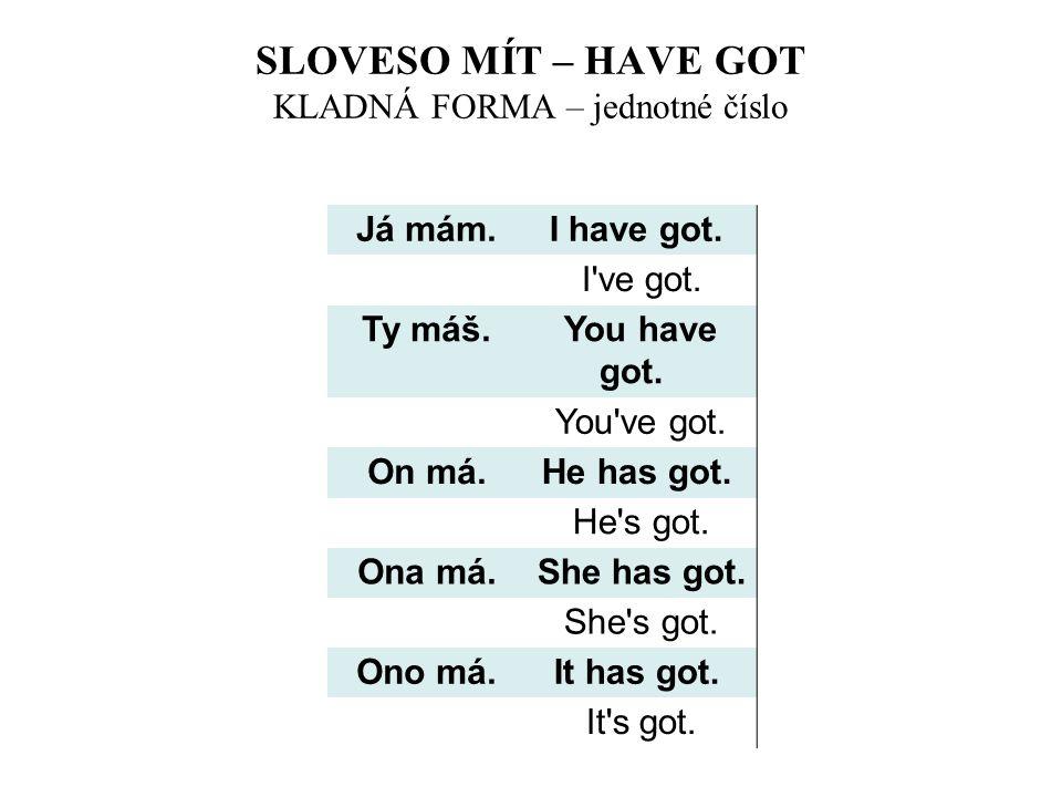 SLOVESO MÍT – HAVE GOT KLADNÁ FORMA – jednotné číslo Já mám. I have got. I've got. Ty máš. You have got. You've got. On má. He has got. He's got. Ona