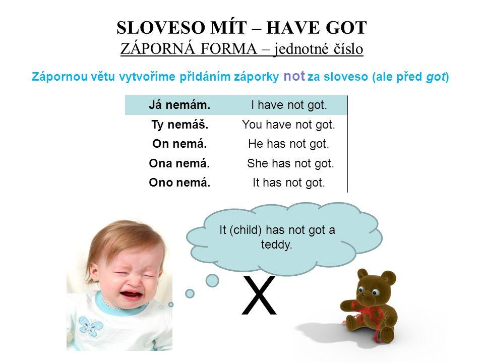 SLOVESO MÍT – HAVE GOT ZÁPORNÁ FORMA – jednotné číslo Já nemám.