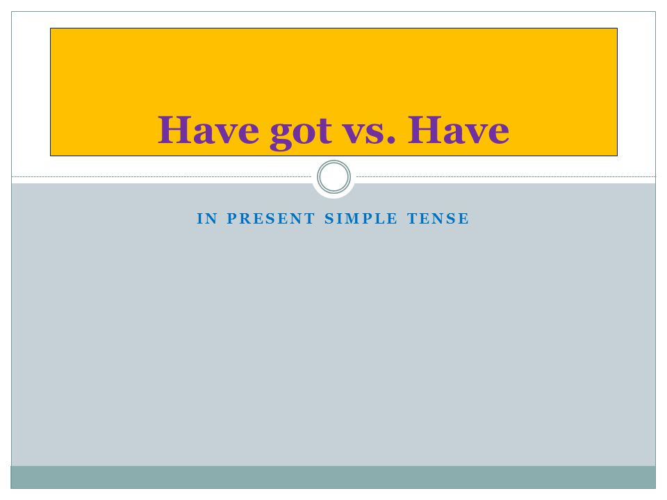 IN PRESENT SIMPLE TENSE Have got vs. Have