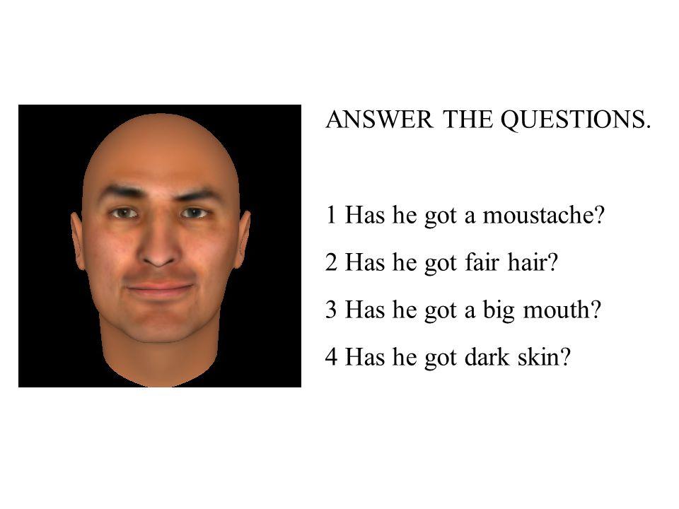 1 Has he got a moustache.2 Has he got fair hair. 3 Has he got a big mouth.