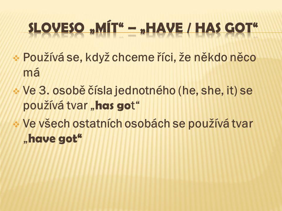kladný tvar, krátká forma Záporný tvar, krátká forma otázkaodpověď Já mámI´ve gotI haven´t gotHave I got…?Yes, you have.