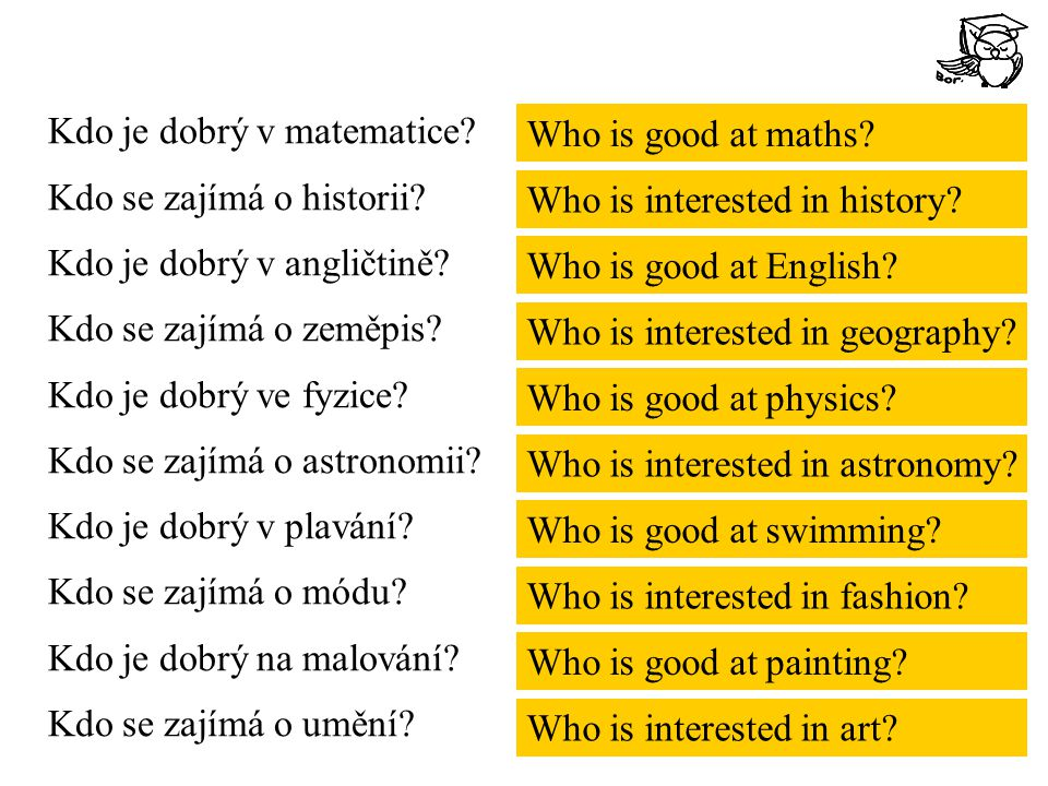 Kdo je dobrý v matematice? Kdo se zajímá o historii? Kdo je dobrý v angličtině? Kdo se zajímá o zeměpis? Kdo je dobrý ve fyzice? Kdo se zajímá o astro