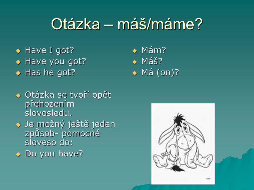 Otázka – máš/máme.  Have I got.  Have you got.
