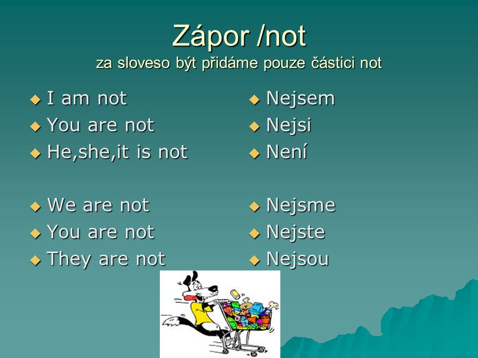 Zápor /not za sloveso být přidáme pouze částici not  I am not  You are not  He,she,it is not  We are not  You are not  They are not  Nejsem  Nejsi  Není  Nejsme  Nejste  Nejsou