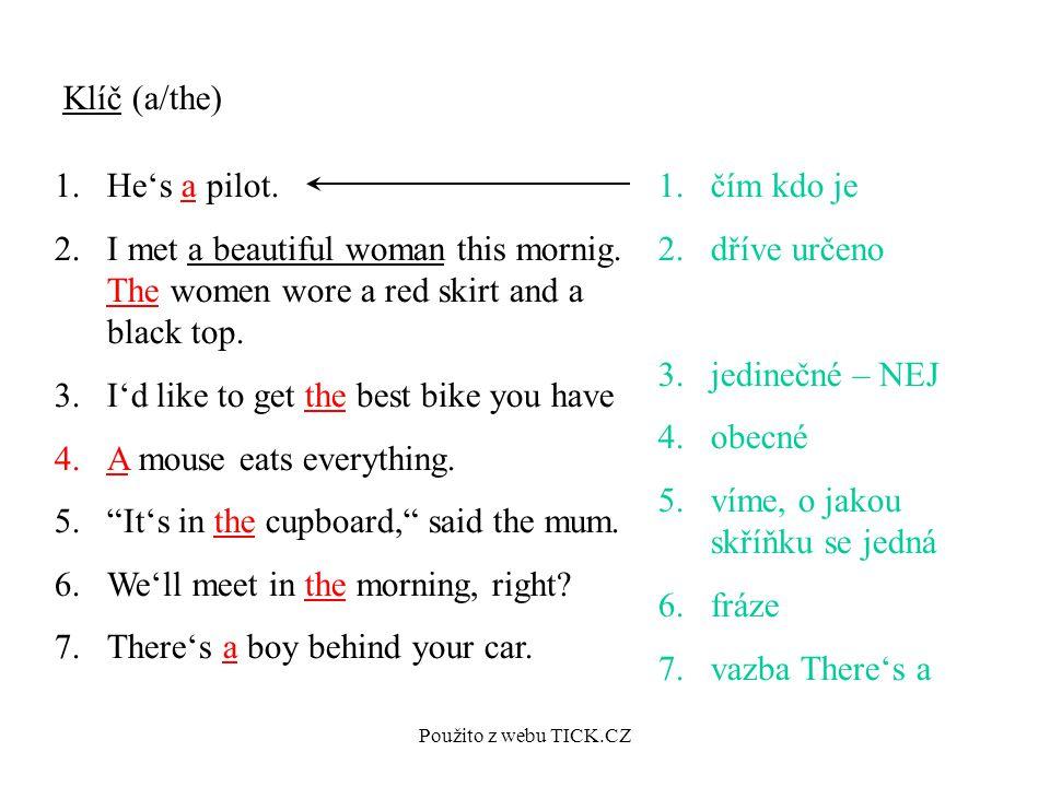 Použito z webu TICK.CZ Klíč (a/the) 1.He's a pilot.