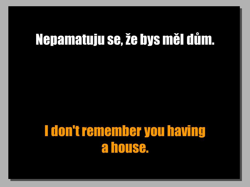 Nepamatuju se, že bys měl dům. I don t remember you having a house.