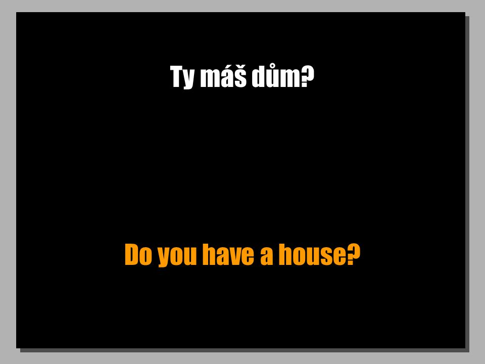 Ty máš dům? Do you have a house?