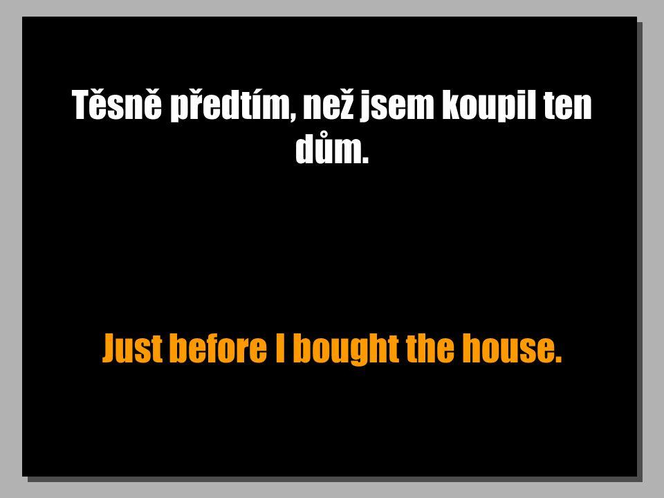 Těsně předtím, než jsem koupil ten dům. Just before I bought the house.