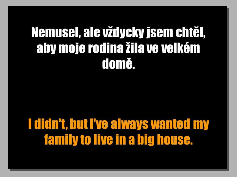 Nemusel, ale vždycky jsem chtěl, aby moje rodina žila ve velkém domě. I didn't, but I've always wanted my family to live in a big house.