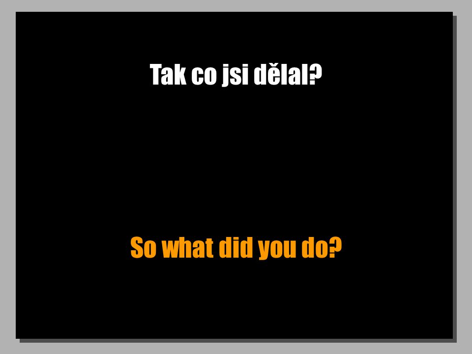 Tak co jsi dělal? So what did you do?
