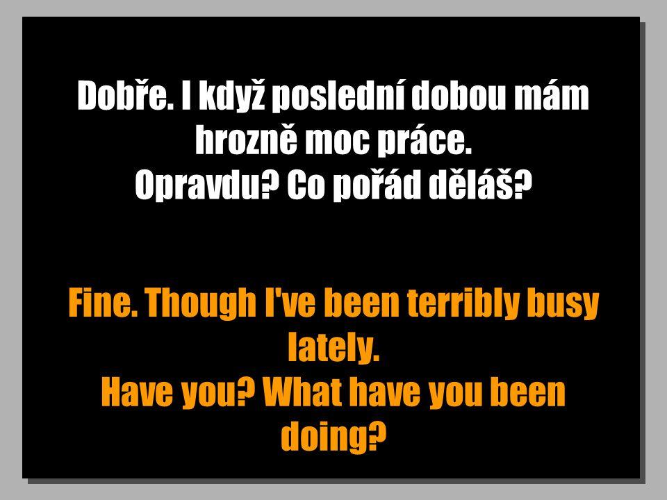 Dobře. I když poslední dobou mám hrozně moc práce. Fine. Though I've been terribly busy lately. Opravdu? Co pořád děláš? Have you? What have you been