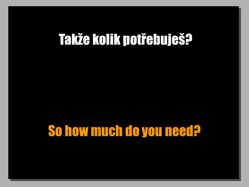 Takže kolik potřebuješ? So how much do you need?