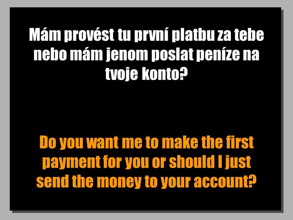 Mám provést tu první platbu za tebe nebo mám jenom poslat peníze na tvoje konto.