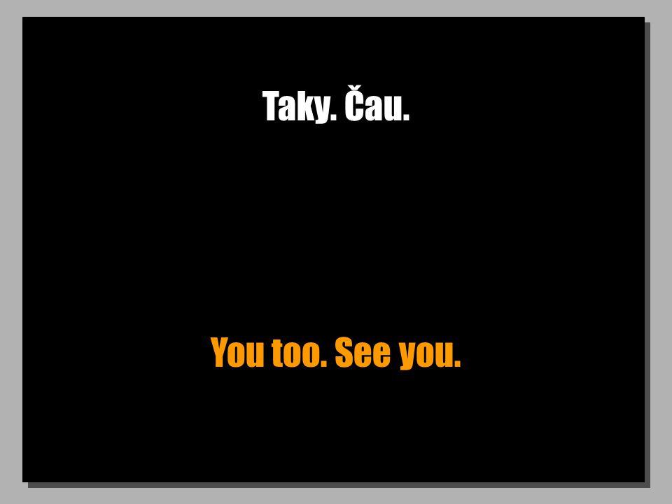 Taky. Čau. You too. See you.