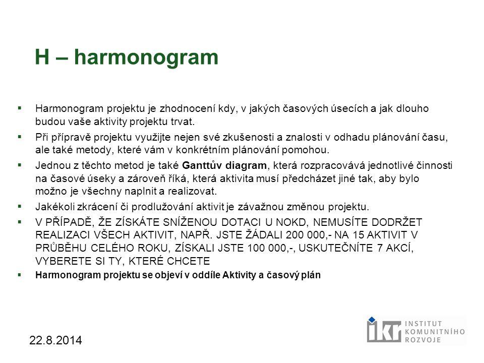 19 22.8.2014 H – harmonogram  Harmonogram projektu je zhodnocení kdy, v jakých časových úsecích a jak dlouho budou vaše aktivity projektu trvat.  Př