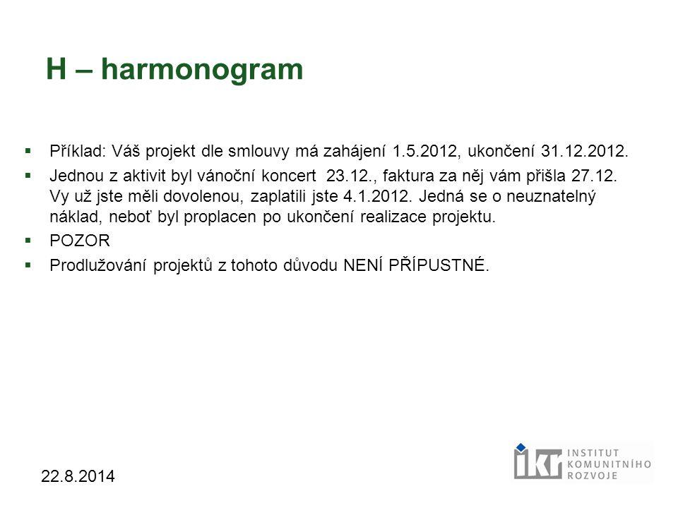 20 22.8.2014 H – harmonogram  Příklad: Váš projekt dle smlouvy má zahájení 1.5.2012, ukončení 31.12.2012.  Jednou z aktivit byl vánoční koncert 23.1