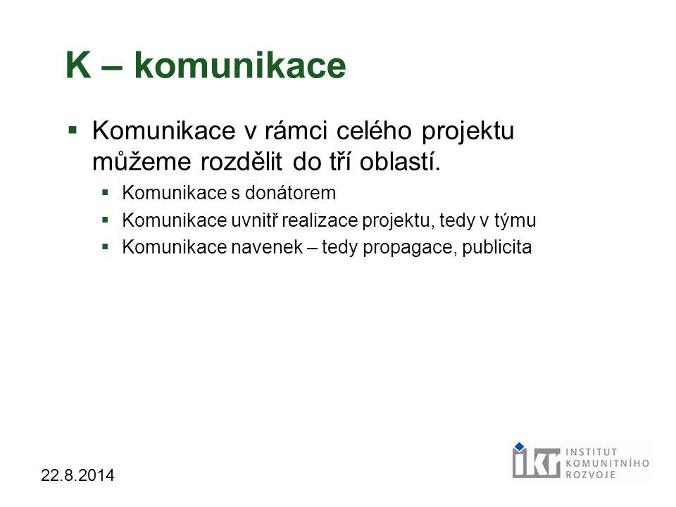 25 22.8.2014 K – komunikace  Komunikace v rámci celého projektu můžeme rozdělit do tří oblastí.  Komunikace s donátorem  Komunikace uvnitř realizac