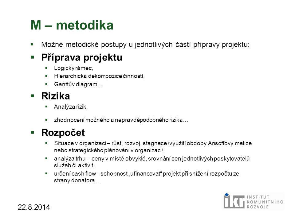 28 22.8.2014 M – metodika  Možné metodické postupy u jednotlivých částí přípravy projektu:  Příprava projektu  Logický rámec,  Hierarchická dekomp