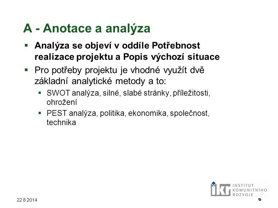 6 22.8.2014 A - Anotace a analýza  Analýza se objeví v oddíle Potřebnost realizace projektu a Popis výchozí situace  Pro potřeby projektu je vhodné
