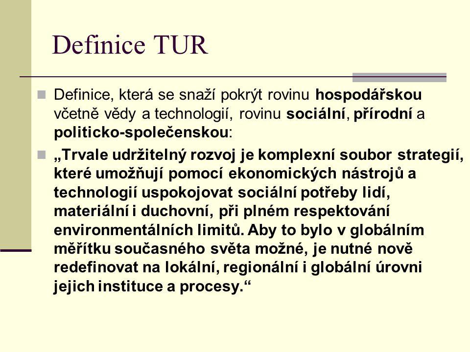 """Definice TUR Definice, která se snaží pokrýt rovinu hospodářskou včetně vědy a technologií, rovinu sociální, přírodní a politicko-společenskou: """"Trval"""