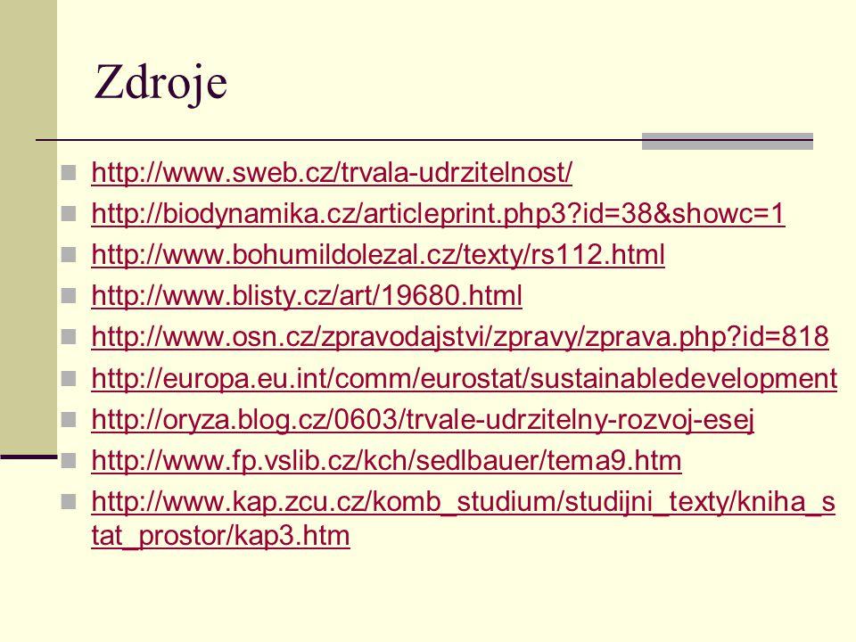 Zdroje http://www.sweb.cz/trvala-udrzitelnost/ http://biodynamika.cz/articleprint.php3?id=38&showc=1 http://www.bohumildolezal.cz/texty/rs112.html http://www.blisty.cz/art/19680.html http://www.osn.cz/zpravodajstvi/zpravy/zprava.php?id=818 http://europa.eu.int/comm/eurostat/sustainabledevelopment http://oryza.blog.cz/0603/trvale-udrzitelny-rozvoj-esej http://www.fp.vslib.cz/kch/sedlbauer/tema9.htm http://www.kap.zcu.cz/komb_studium/studijni_texty/kniha_s tat_prostor/kap3.htm http://www.kap.zcu.cz/komb_studium/studijni_texty/kniha_s tat_prostor/kap3.htm