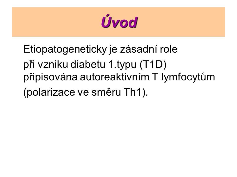 Úvod Etiopatogeneticky je zásadní role při vzniku diabetu 1.typu (T1D) připisována autoreaktivním T lymfocytům (polarizace ve směru Th1).