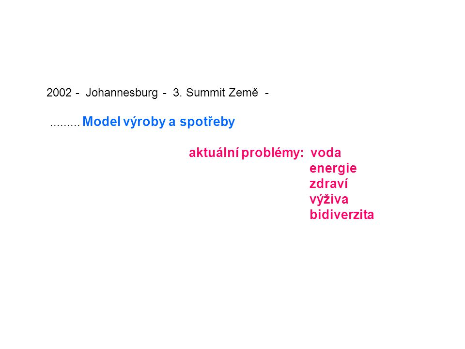 2002 - Johannesburg - 3. Summit Země -......... Model výroby a spotřeby aktuální problémy: voda energie zdraví výživa bidiverzita