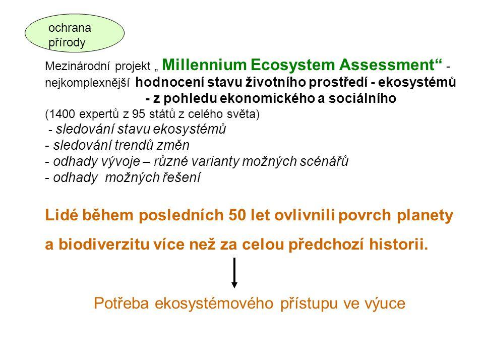 """Mezinárodní projekt """" Millennium Ecosystem Assessment"""" - nejkomplexnější hodnocení stavu životního prostředí - ekosystémů - z pohledu ekonomického a s"""