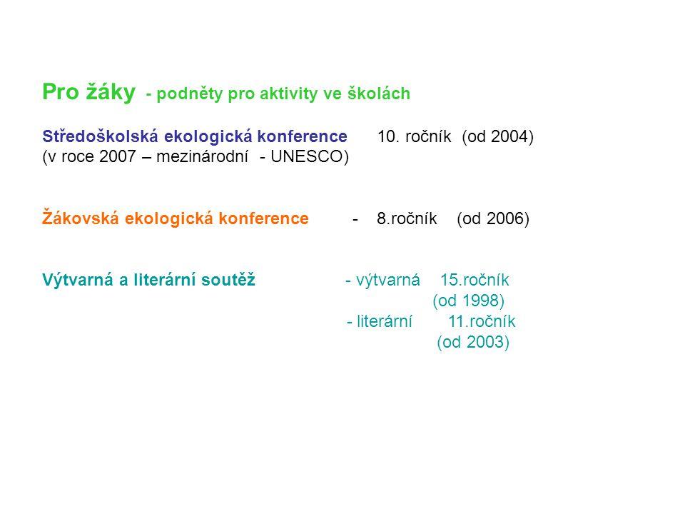Pro žáky - podněty pro aktivity ve školách Středoškolská ekologická konference 10. ročník (od 2004) (v roce 2007 – mezinárodní - UNESCO) Žákovská ekol