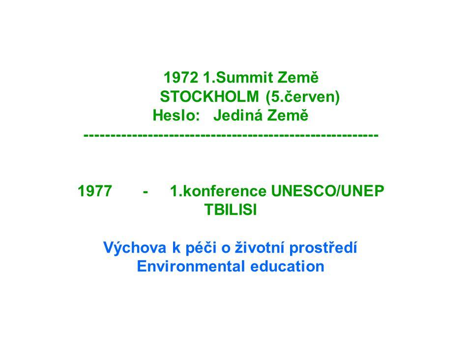 1972 1.Summit Země STOCKHOLM (5.červen) Heslo: Jediná Země -------------------------------------------------------- 1977 - 1.konference UNESCO/UNEP TB