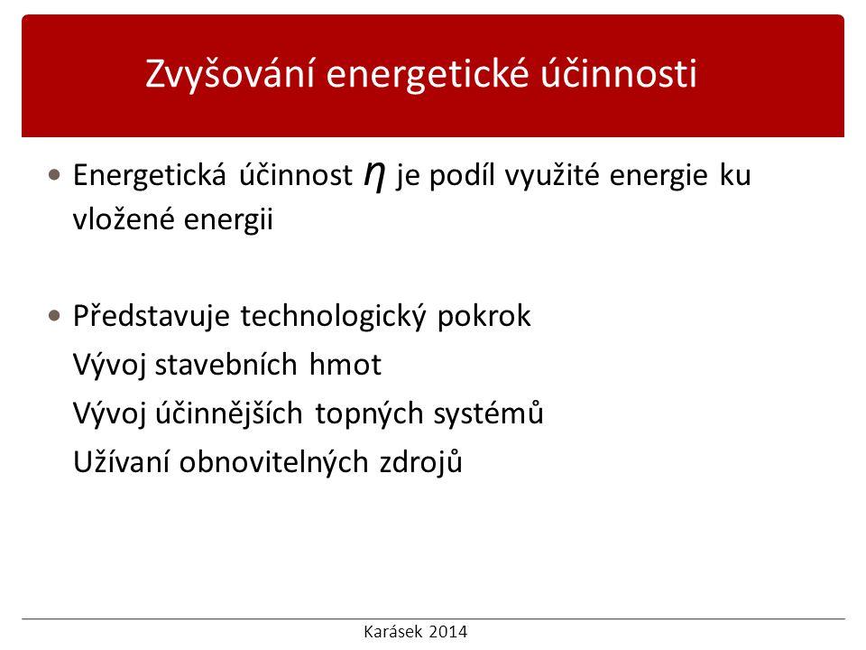 Karásek 2014 Energetická účinnost η je podíl využité energie ku vložené energii Představuje technologický pokrok Vývoj stavebních hmot Vývoj účinnějších topných systémů Užívaní obnovitelných zdrojů Zvyšování energetické účinnosti