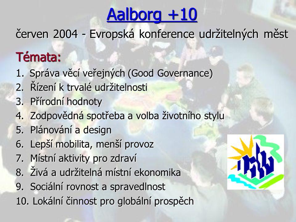 Aalborg +10 červen 2004 - Evropská konference udržitelných měst Témata: 1.