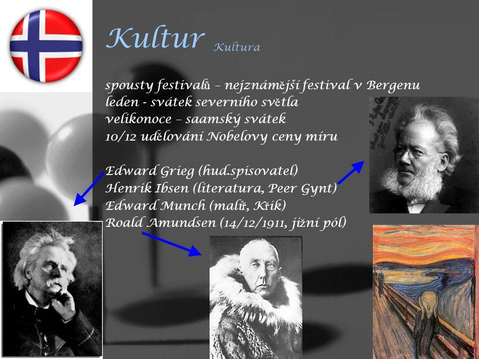 Kultur Kultura spousty festival ů – nejznám ě jší festival v Bergenu leden - svátek severního sv ě tla velikonoce – saamský svátek 10/12 ud ě lování Nobelovy ceny míru Edward Grieg (hud.spisovatel) Henrik Ibsen (literatura, Peer Gynt) Edward Munch (malí ř, K ř ik) Roald Amundsen (14/12/1911, ji ž ní pól)