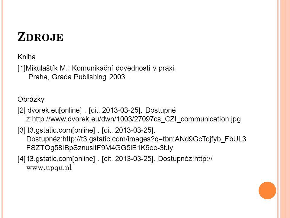 Z DROJE Kniha [1]Mikulaštík M.: Komunikační dovednosti v praxi.