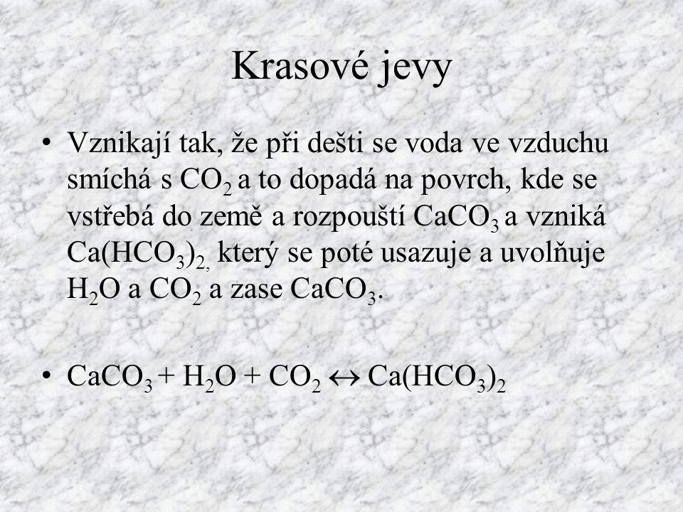 Krasové jevy Vznikají tak, že při dešti se voda ve vzduchu smíchá s CO 2 a to dopadá na povrch, kde se vstřebá do země a rozpouští CaCO 3 a vzniká Ca(