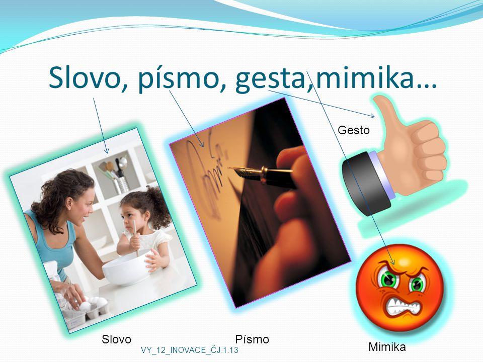 Slovo, písmo, gesta,mimika… SlovoPísmo Mimika Gesto VY_12_INOVACE_ČJ.1.13