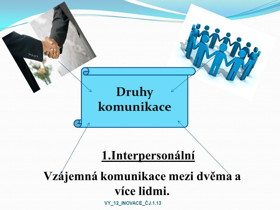 1.Interpersonální Druhy komunikace Vzájemná komunikace mezi dvěma a více lidmi.