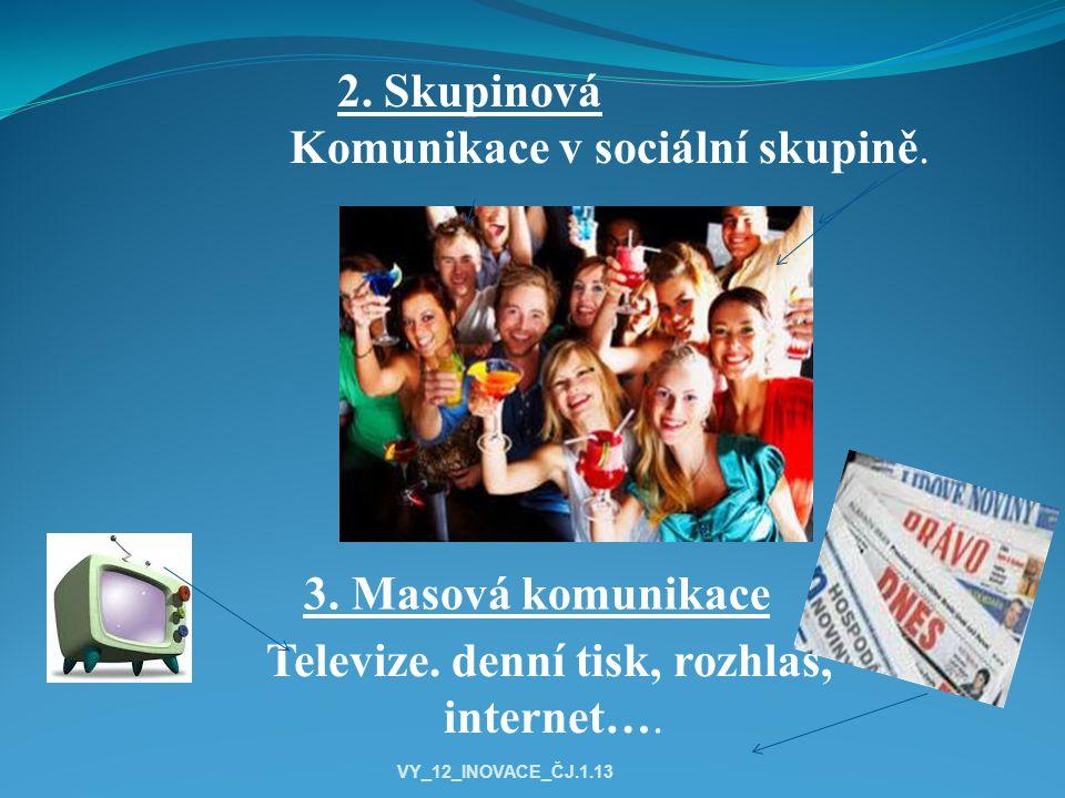 3. Masová komunikace 2. Skupinová Komunikace v sociální skupině.