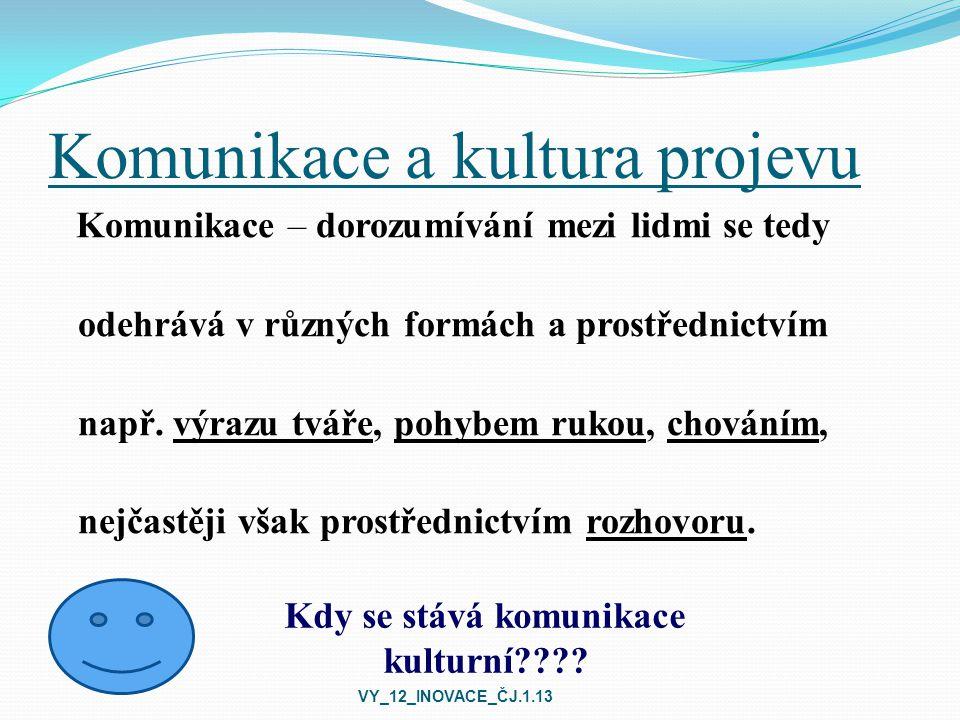 Pravidla v kulturní komunikaci Udržování očního kontaktu Vhodný postoj těla Vhodná vzdálenost mezi komunikujícími Vyjadřování se: zdvořile, jasně, stručně, konkrétně, srozumitelně, souvisle Projevování tolerance vůči druhým Ochota k porozumění a naslouchání Zpětná vazba VY_12_INOVACE_ČJ.1.13