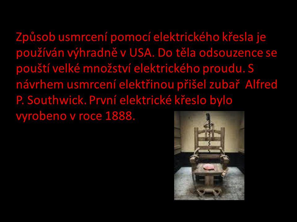 Způsob usmrcení pomocí elektrického křesla je používán výhradně v USA.