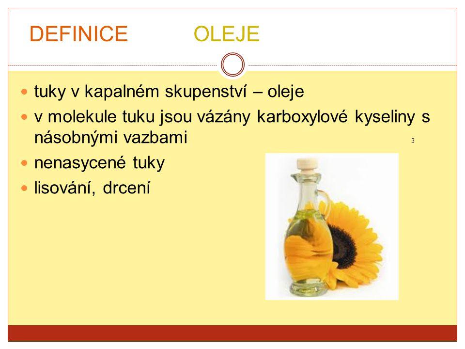 tuky v kapalném skupenství – oleje v molekule tuku jsou vázány karboxylové kyseliny s násobnými vazbami 3 nenasycené tuky lisování, drcení DEFINICE OL
