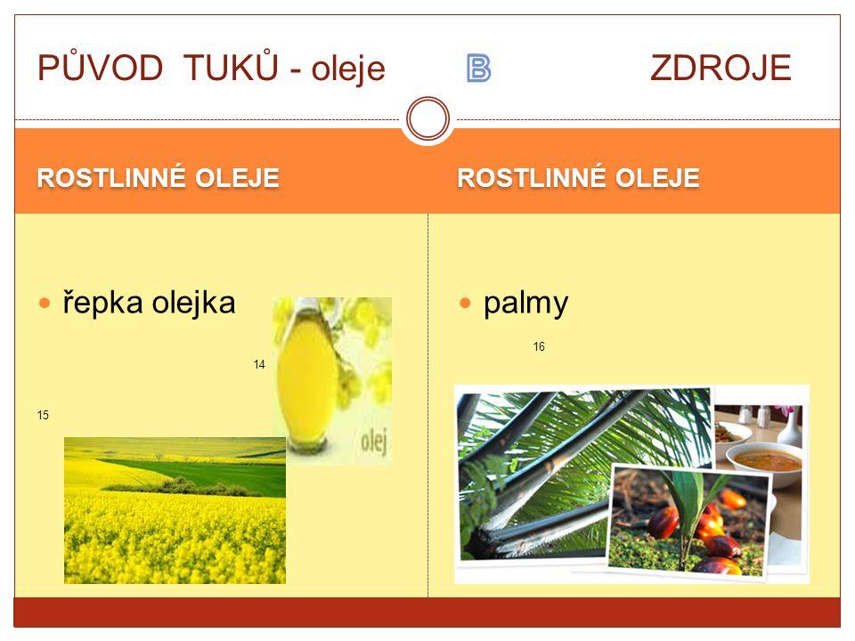 ROSTLINNÉ OLEJE řepka olejka 14 15 palmy 16